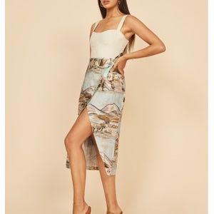 NEW!! Reformation Florence Midi Skirt - Landscape